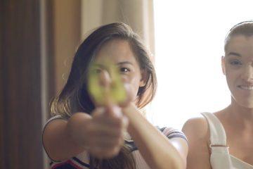 German teen pornstar Anny Aurora and Asian teen Harriet Sugarcookie lesbian sex-tape in the kitchen